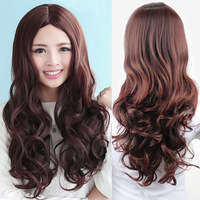 Fashion Brown Wig Long Curly Wave Hair Sexy Women Cosplay Drama Full Wig synthetic hair fibre no Lace Front wholesale Wigs