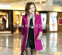 Women's New Spring Fashion Elegant Solid Slim Lapel Long Woolen Coat