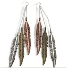 Brinco Women Vintage Metal Feather Dangle Long Designed Tassel Earrings. Brincos Ouro Aretes De Plata Party Earrings