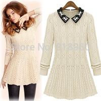 New European style long pullover women long sweaters jumper,deer pattern turn-down collar woman sweaters cashmere sweaters dress