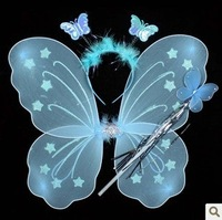 FREE SHIPPING butterfly wing set(wing,headband,fairy wand)/Angel wing/Party accessories,6 colours christmas supplies wj01