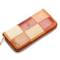 Wholesale 2014 Vintage Natural Leather Women's Wallet Patchwork Cowhide Zipper Purse