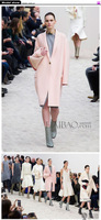 2015 European stype fashion spring autumn winter woolen  Pink long classic stype high lever quality outwear coat