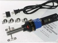 2pcs 220V 450W 450 Degree LCD Adjustable Electronic Heat Hot Air Gun Desoldering Soldering Station IC SMD BGA + 4 Nozzle+Scraper