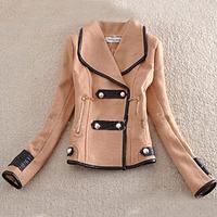 Wholesales Women Winter Faux Fur Collar Short Slim Jacket Coats Tunic Outwear Woollen Parka