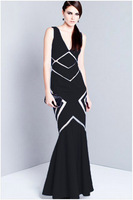 New 2015 Elegant Dress Long Party Sexy V-Neck Patchwork Sleeveless Prom Mermaid Evening Dresses Floor Length Gown ZHX