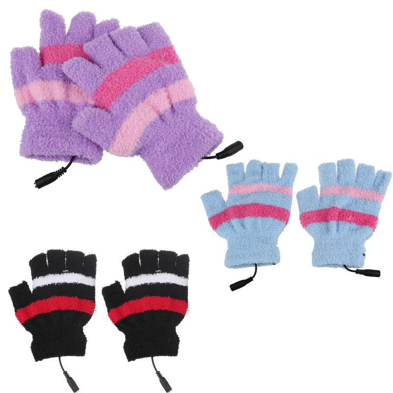 Fashion Winter Laptop Fingerless USB Heating Warm Hot Hands Heat Gloves(China (Mainland))