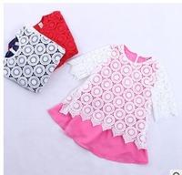 2015 summer Girls circle lace stitching vest dress 3colors 6pcs/lot wholesale