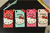 New Hot Lovely Cute Polka Dot Pendants Hello Kitty Rubber Soft Silicone Skin Case For Sony Xperia T3 Case Covers Free Shipping