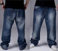 Hot Sale Big Size 30-46 Loose hip hop jeans Fashion European Men's high quality casual denim pants