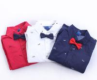 CS46 new 2015 boys shirts with bow 2-8 age long sleeve boy shirt for boys clothing free shipping 5pcs/ lot