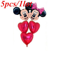 5PCS/LOT Cartoon Minnie And Mickey Head Foil Balloons Red Peach Heart Combination Suit Balloon Party Decoration Free Shipping