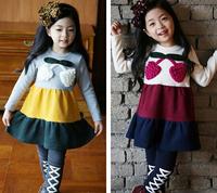 Free shipping -5pieces/lot -2015 new cute girls big strawberry striped dress stitching - princess dress