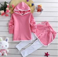 baby girls fashion clothes suits children pure color hoodies tops+patchwork pants 2pcs sets girls casual set JL-2229