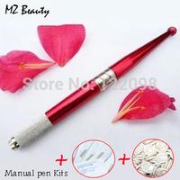 Embroidery machine pen Aluminum alloy Manual tattoo pen kits with  20 pcs needle blade+50pcs Disposable finger sets