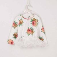 5pcs/lot 2015 spring new arrival girls long sleeve floral printed cotton t shirt kids princess veil tops 239