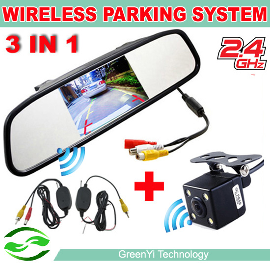 Wireless Car Parking Assistance Video Monitors , 3in 1 Wireless Car Rear View Camera Monitor System 2.4Ghz Wireless Camera Kit(China (Mainland))