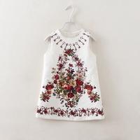 Spring autumn new key floral print Jacquard sleeve dress
