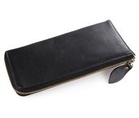 100% Real Genuine Leather Wallet for  iphone purse Soft design Card Holder Black Leather handbag