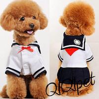 Free shipping Pet clothes teddy clothes bichon dog clothes summer sailor dress school uniform one-piece dress