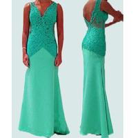 Sexy Women V Neck Sleeveless Floor-Length Lace Slim Bodycon Backless Elegant Evening Party Pencil Dress Vestido 2015 Brand New