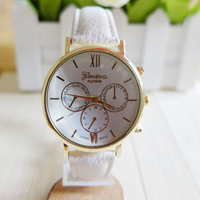 Hot selling geneva colorful silicone jelly wristwatch Three circles Display leather men women watch