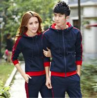2014 lovers sports set spring and autumn cardigan slim casual sweatshirt sportswear set
