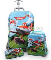 "16 ""3D plane rod bag design cartoon children three-piece suit trolley school bag with lunch &pencil bag school bag with wheels"