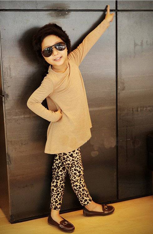 2-7 Years Old Kids Soft Casual Leggins Winter New Fashion Children's Warm Pant Girls & Boys Leopard Printed Leggings T24-189(China (Mainland))