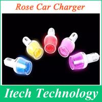 5pcs/lot High Quality Universal Dual 2 Port 5V 3.1A USB Car Charger for iphone 6 Plus ipod ipad, Beauty Rose Design