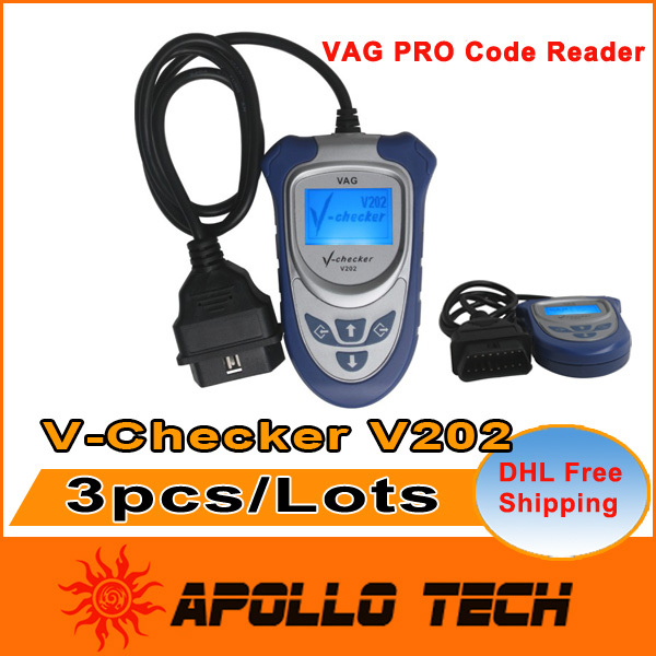 [3pcs/lots] EOBD OBD2 OBDII Code Scan Tool VAG PRO Code Reader V-Checker V202 Can Bus Read & Clear Fault Codes DHL Free Shipping(China (Mainland))