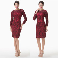 Red Long Sleeve Mother of the Bride Dress Lace Embroidery Women Special Occasion Knee Length Evening Party Gown dresses 6278