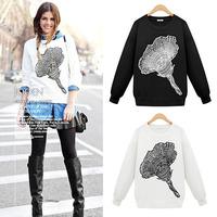 2015 New Fashion Flower Printed Sweatshirt Women Hoody Long Sleeve White & Black Casual Pullovers Loose Tracksuits Hoodies Tops