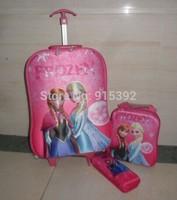 Free shipping 2015 Children Cartoon Princess frozen 3D EVA Lunch bag Sets Trolley bags +Lunch bag+ pencil case