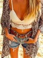 2015 summer swimwear cotton handmade crochet camisole sexy crop tops bikini swimsuit