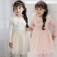 Free shipping -5pieces/lot -2015 spring new girls bow cotton lace dress - princess tutu dress