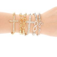 Hot Fashion Women's Crystal Rhinestone Cross Love Infinity Stretch Beaded bracelets Gift