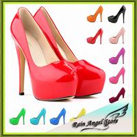 Candy Color 13 Women Platform Shoes Patent Leather Sexy Pumps 14CM Bridal Shoes Super High Heels Shoes Woman