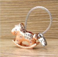 Milesi - New 2014 Brand Rhinestone Horse Key Chain Keychain Trinket Key Ring for Women Keyholder Novelty innovative Bag Pendant