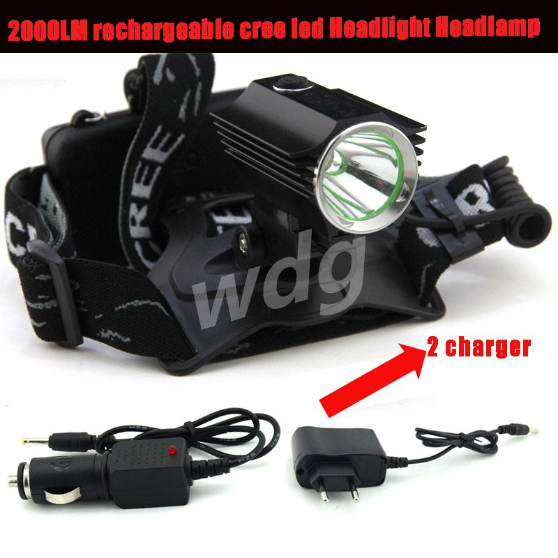 Cree XML T6 ch10 2000LM rechargeable led Headlight Headlamp light+Charger/Car charger lanterna linterna frontal de cabeza(China (Mainland))