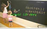 60 PCS 45*200CM FEDEX Shipping Vinyl Blackboard Wall Stickers Removable PVC Mini Chalkboard Sticker Black Board With Chalks