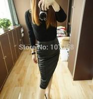 high quality faux leather women new 2014 Zipper stitching office/party wear bodycon pencil skirt saias femininas 6XL  Plus Size