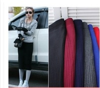 2014 South Korea Swept The Coarse Wool Knitting Cotton Skirt Package Hip Solid  Slim Pencil Skirt