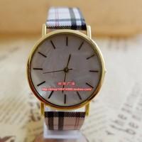 Free Shipping Fashion Small fresh shell surface Plaid Watch Casual Dress Wristwatch Quartz Watch for Women Girls PU Leather