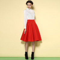 2015 spring NEW vestidos florais ladies high collar button Slim thin long sleeves cute red two-piece dress set skirt and blouse