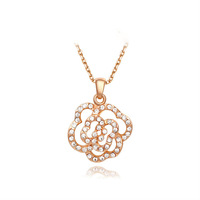 2015 Hollow Rose Flower Pendant Necklace 18K Rose Gold Plated Pave Austria Crystal Necklace Women Jewelry