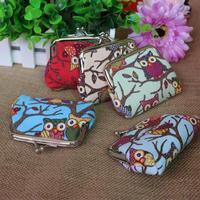 5 Color Mixed Korea Cute Small Zero Purse Lady Canvas Bird Animal Coin Money Bag Gift Small Wallet
