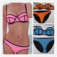 New Arrival 9 Colors Elastic Neoprene Women Sexy Bikini Set High Waist Swimwear Triangle Swimsuit S/M/L/XL Drop Shipping