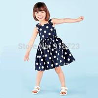 2015 New Summer Girls Dress Dots Princess Dress American and European Style Children Clothing Kids Dress 2-5T Fashion Navy Blue
