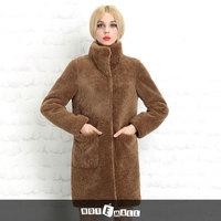 2014 new arrival free shipping long design women fur fashion garment slim long thick winter coat frozen natural lamb fur coat